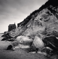 """Chapel and Rocks, Mont St. Michel, France. 2004"""