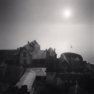 """Rooftop Sunrise, Mont St. Michel, France. 1993"""